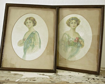 Enchanting set of two antique paintings, painted or printed on silk, 1910, victorian....CHARMANT!