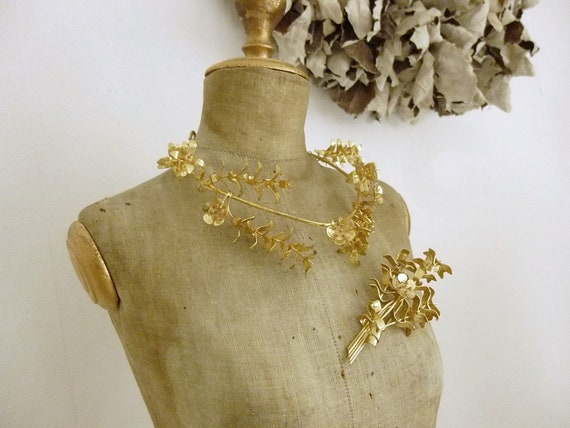 Lovely antique bridal jewelry set, Tiara, Diadem,