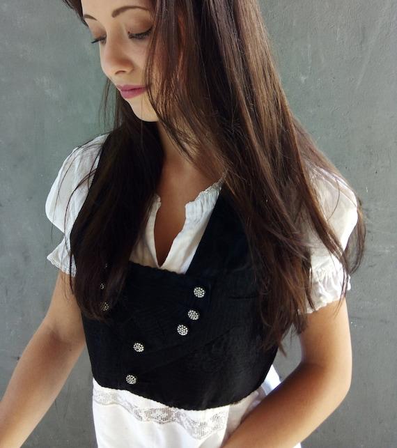 Antique french vest, corset, bodice, corsage, hand