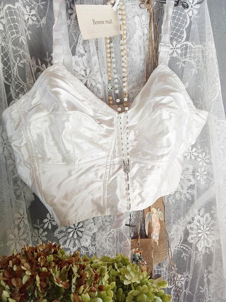 d0adfd3130 Old stock beautiful vintage 1950s bullet bra corset bodice