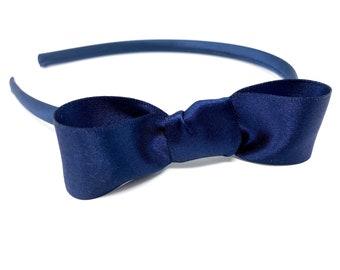Handmade Boutique School Hairband Alice Band zigzag navy//light blue