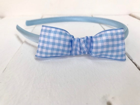 Pink Satin Alice Band   Hairband   Headband    Pink Gingham Bow   Back To School