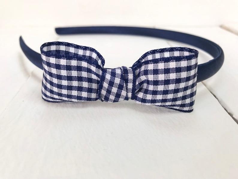 UK handmade girls school Hairband Alice Band Headband gingham blue uniform