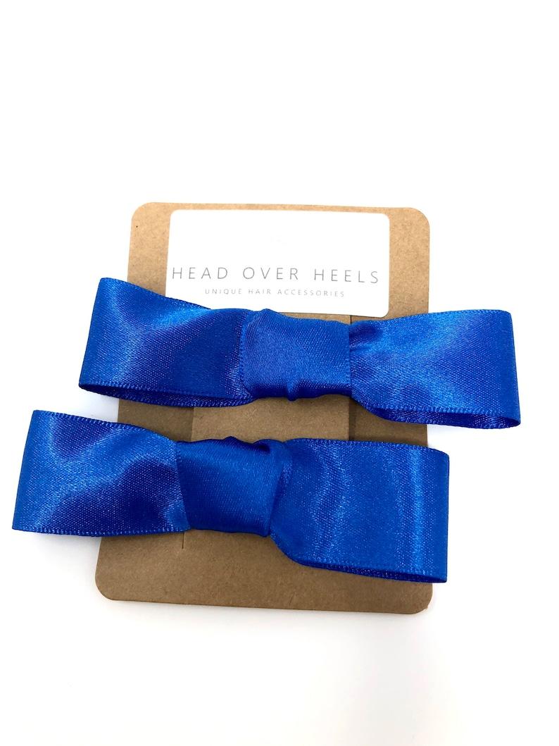 Royal Blue Bow Hair Clip Satin Hair Accessory set off 2 Back To School Uniform