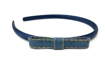 Denim Blue Bow Navy Satin Hairband