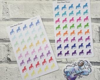 Unicorn stickers for Erin Condren, Plum Paper, Filofax, Kikki K (DPD045-046)