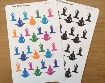 Yoga stickers for Erin Condren, Plum Paper, Filofax, Kikki K (DPD021-023)