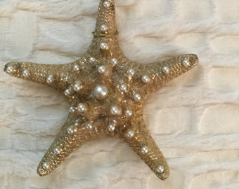 Gold and Pearl Nobbly Starfish Sea Shell Christmas Ornament w/ Pearlized Opalescent Shimmer, Authentic Shell, Coastal / Beach Hanging Decor