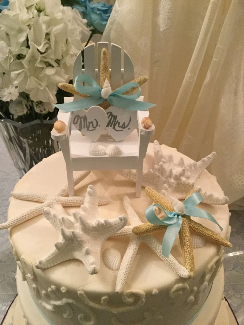 Beach Wedding Cake Topper Starfish Cake Topper Beach Chair Cake Topper Adirondack Chair Cake Topper Seashell Cake Topper Bridal Shower