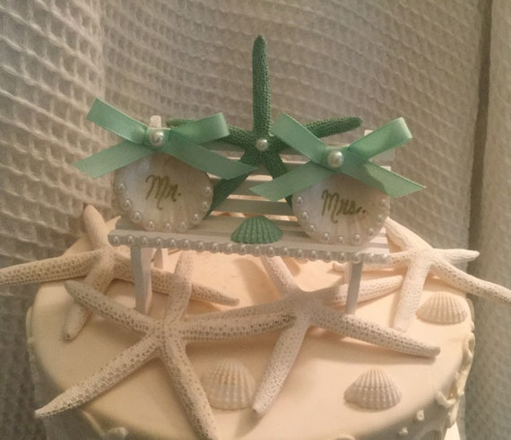 Beach Wedding Cake Topper Starfish Wedding Cake Topper Coastal Wedding Cake Topper Mint Green Wedding Cake Topper Chair Cake Topper