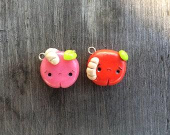 Polymer Clay Worm-Eaten Apple Charm