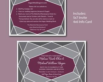 Wedding Invite and Info Card - Geometric
