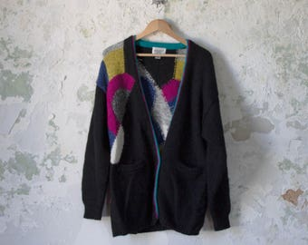 Vintage Geometric Sweater - Oversized Sweater - 80s 1980s Abstract Sweater - Mohair Cardigan Black Blue Yellow Pink