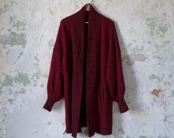 Vintage Duster - 80s Long Sweater - Nubby Cardigan Red Black Oversized