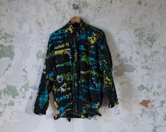 Vintage Bomber Jacket 80s 1980s Colorful Jacket - Oversized - Paint Splatter Bold Loud Large XL