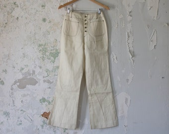 Vintage High Waist White Pants - 1960s 60s 70s Cream Stitched Light Jeans Small Boho Hippie