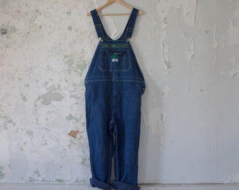 Vintage Liberty Overalls Denim Blue Classic Workeear Stained Faded Coverall Jumper L XL