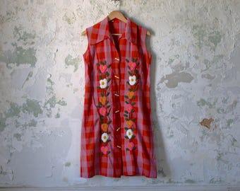 Vintage Plaid Dress - 60s 1960s Shirt Dress - Embroidered Dress - Toggle Pink Orange Medium Large