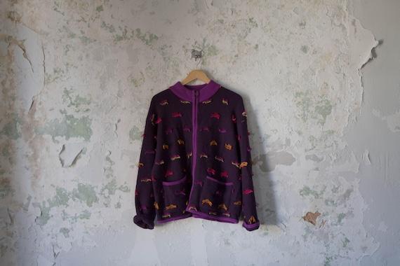 Vintage Wool Shag Sweater - Purple Cardigan - 1980