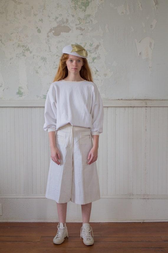 Vintage Minimalist Culottes - White Pants - 70s 19