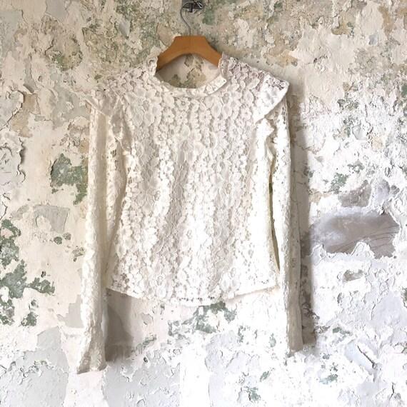 Vintage White Lace Blouse - 1970s 70s Lace Top Sh… - image 1