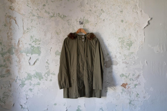 Vintage Army Green Jacket with Hood - Faux Fur - 7