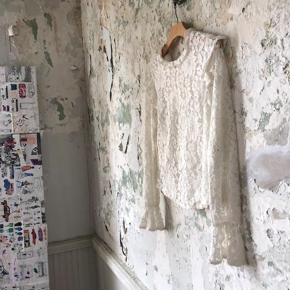 Vintage White Lace Blouse - 1970s 70s Lace Top Sh… - image 5