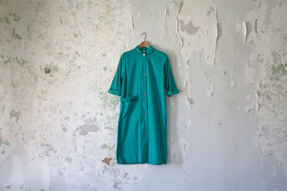 Vintage Duster Coat 1940s 40s Workwear Jacket Lon… - image 1