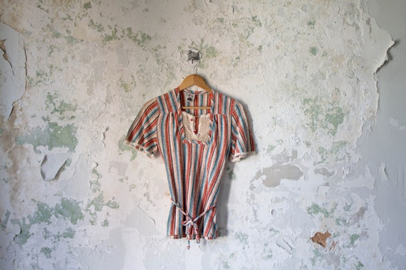 Vintage Striped Top - Rare 1970s 70s You Babes Lac