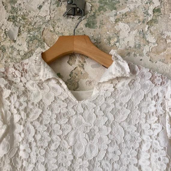 Vintage White Lace Blouse - 1970s 70s Lace Top Sh… - image 6