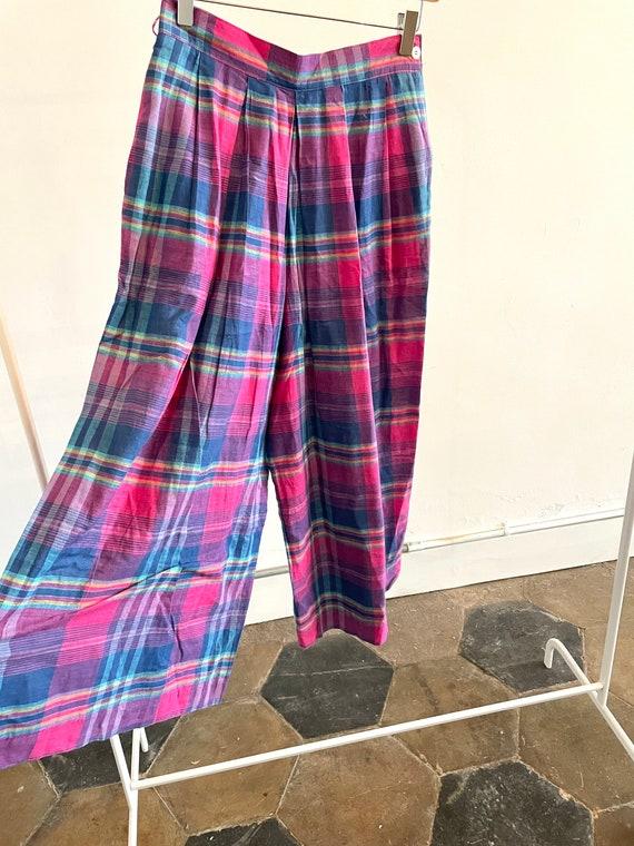 Vintage Plaid Wide Leg Pants 1980s 80s Palazzo Pl… - image 3