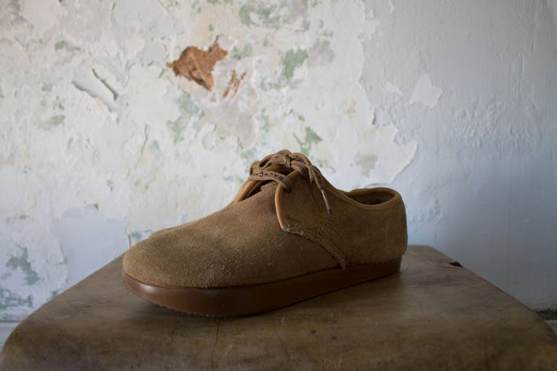 a1da474cdaa88 Vintage Moccasin Shoes - 70s 1970s Suede Close Toe Shoes - 7.5 - Lace Up  Shoes - Leather Birkenstock