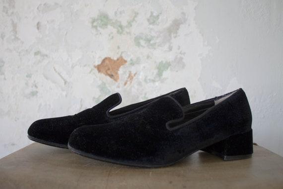 Vintage Velvet Loafers 1980s 80s Velvet Shoes Slid
