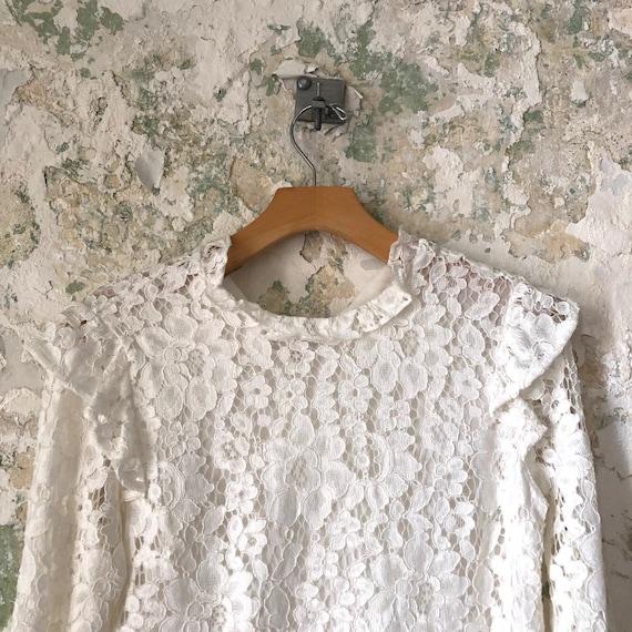 Vintage White Lace Blouse - 1970s 70s Lace Top Sh… - image 2