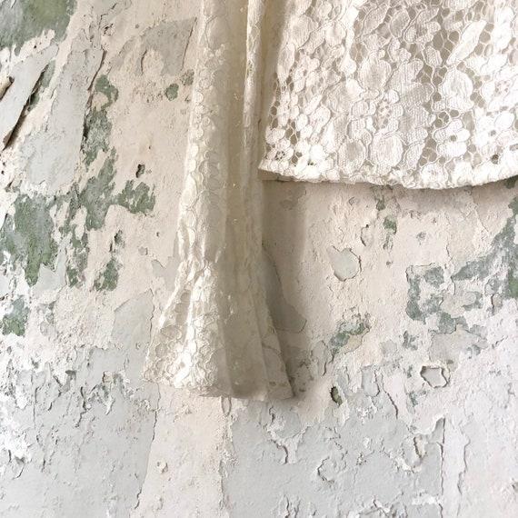 Vintage White Lace Blouse - 1970s 70s Lace Top Sh… - image 7
