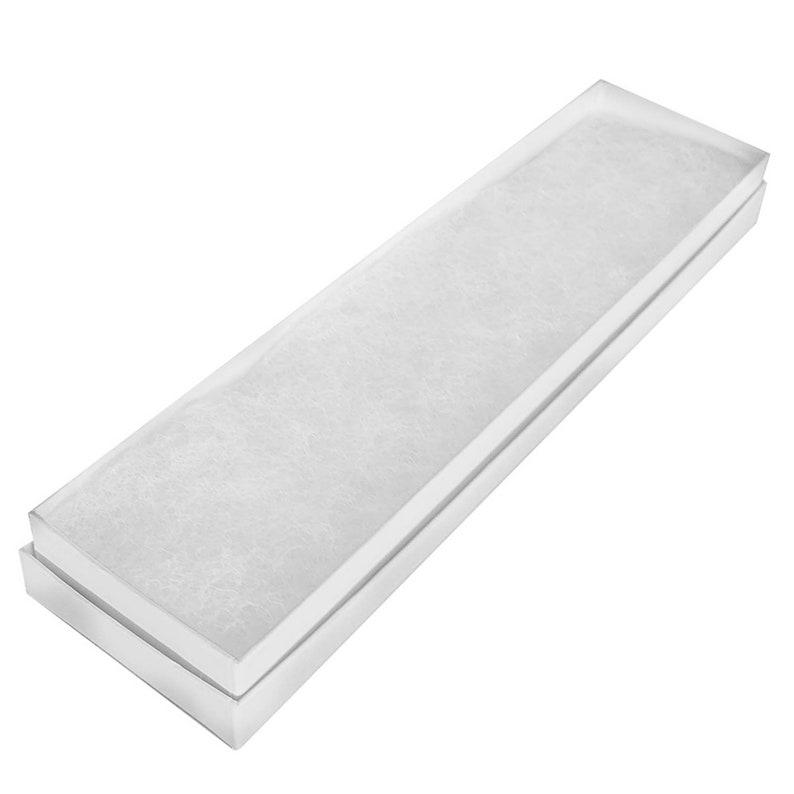Custom Boxes Made-In-Usa 100 Gift Boxes Bulk Premium Glossy white cotton Filled Bracelet Box Measures 8 x 2 x 1H