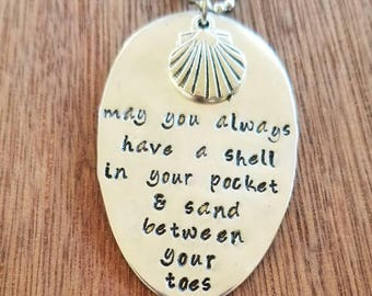 Stamped Spoon Necklace.   May you always have a shell in your pocket & sand between your toes.