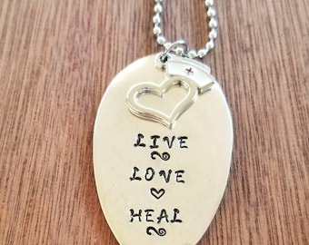 Stamped Spoon Necklace.   LIVE~LOVE~HEAL