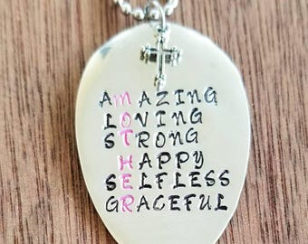 Stamped Spoon necklace.  MOTHER