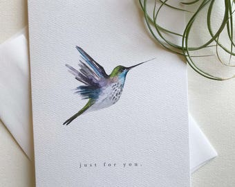 Hummingbird greeting card 6x8 notecard blank handmade etsy single greeting card just for you hummingbird greeting card 5x7 folding cards with envelope blank card m4hsunfo