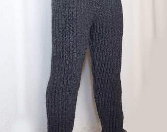 e835db4cfba Hand knitted 100% WOOL mens pants elastic woolen thick trousers