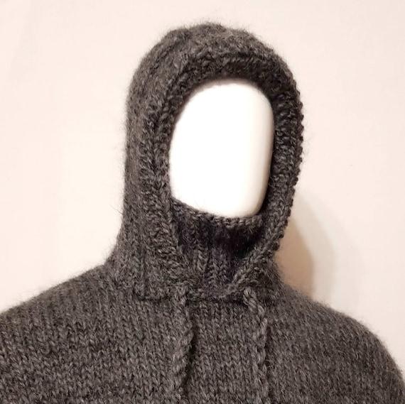 Hand gebreide MOHAIR wol mens hoodie sweater met coltrui ...
