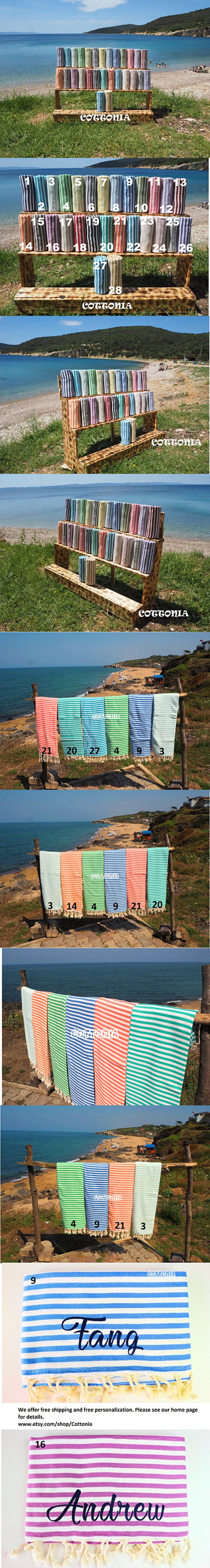 Striped Turkish TowelStirepe Beach TowelNatural Cotton image 0