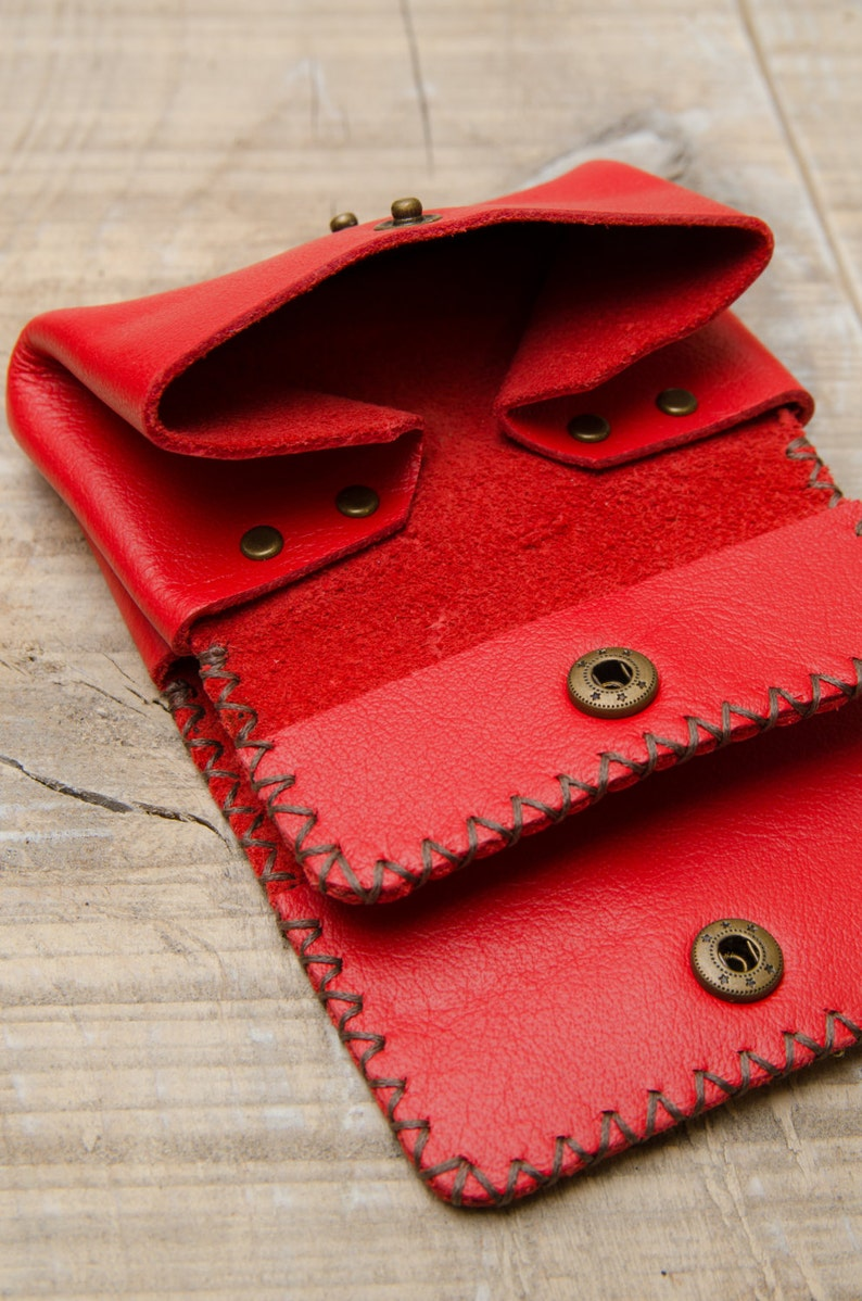 Leather Coin Pouch Coin Wallet Leather Coin Purse Red Leather Wallet