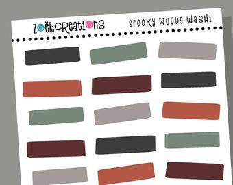 SPOOKY WOODS WASHI, Halloween Washi, Halloween, Washi Stickers, Faux Washi, Washi Tape, Washi Strips, Pattern Stickers, Planner Stickers