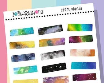 SPACE WASHI, Washi Stickers, Faux Washi, Washi Tape, Washi Strips, Pattern Stickers, Planner Stickers, Bujo Stickers, Bullet Journal