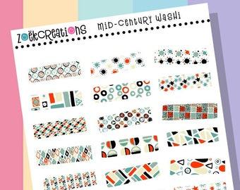 MCM WASHI, Washi Stickers, Faux Washi, Washi Tape, Washi Strips, Pattern Stickers, Planner Stickers, Bujo Stickers, Bullet Journal, Stickers