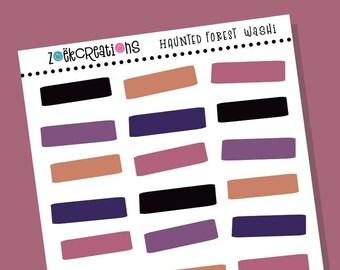 HAUNTED FOREST WASHI, Halloween Washi, Halloween, Washi Stickers, Faux Washi, Washi Tape, Washi Strips, Pattern Stickers, Planner Stickers
