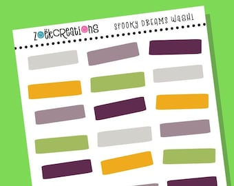 SPOOKY DREAMS WASHI, Halloween Washi, Halloween, Washi Stickers, Faux Washi, Washi Tape, Washi Strips, Pattern Stickers, Planner Stickers