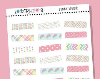 PINKY WASHI, Washi, Bright Washi, Washi Stickers, Faux Washi, Washi Tape, Washi Strips, Pattern Stickers, Planner Stickers